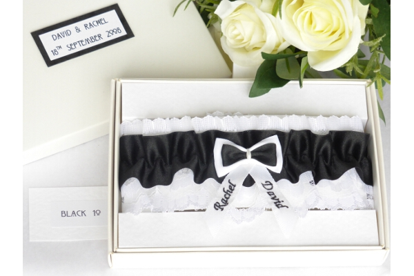 Bridal Accessories - Personalised Black Satin Wedding Garter in Gift Box