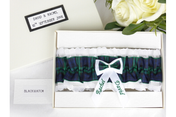 Bridal Wear - Personalised Tartan Wedding Garter - Black Watch