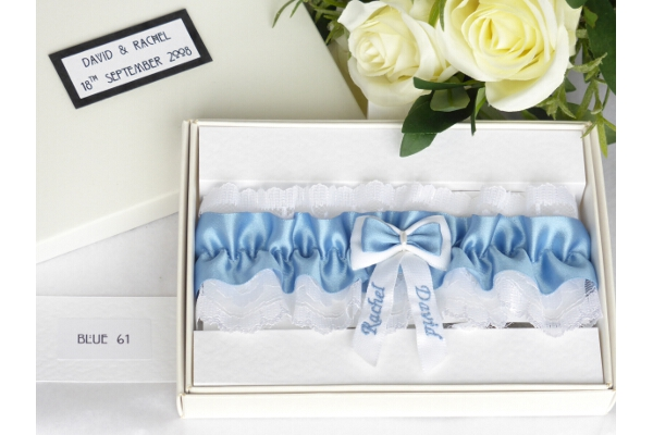 Bridal Accessories - Personalised Blue Satin Wedding Garter in Gift Box