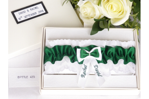 Bridal Accessories - Personalised Bottle Green Garter in Gift Box