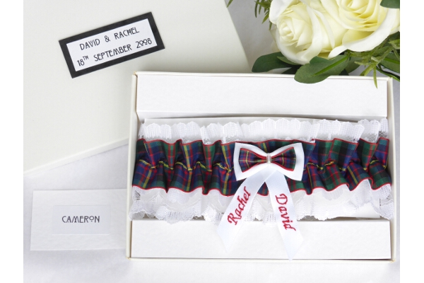 Bridal Wear - Personalised Tartan Wedding Garter - Cameron
