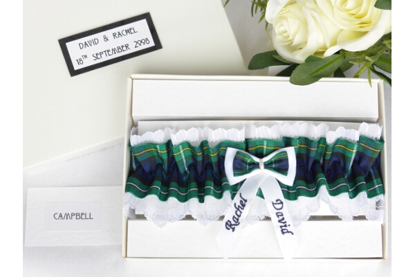 Bridal Wear - Personalised Tartan Wedding Garter - Campbell