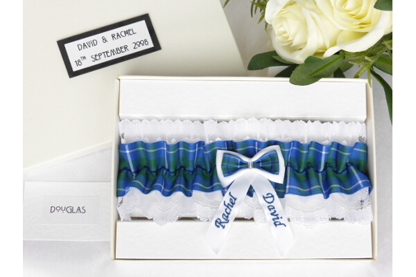 Bridal Wear - Personalised Tartan Wedding Garter - Douglas
