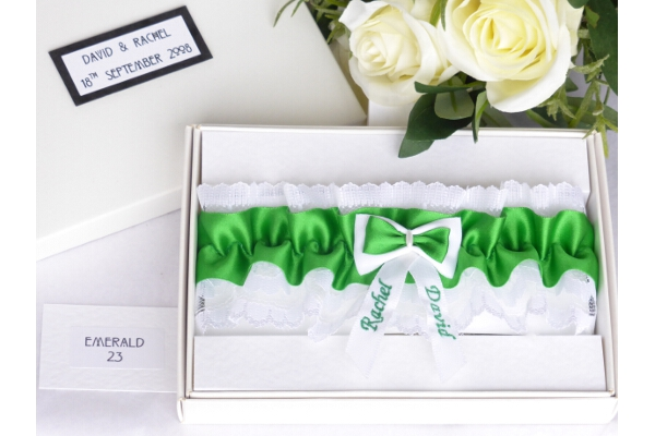 Bridal Accessories - Personalised Emerald Green Satin Wedding Garter in Gift Box