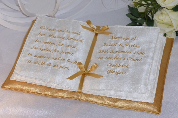 Bridal Accessories - Personalised Gold Book-Style Ring Cushion