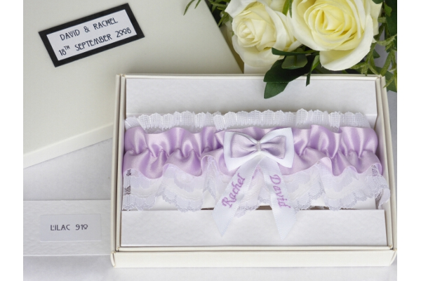 Bridal Accessories - Personalised Lilac Satin Wedding Garter in Gift Box