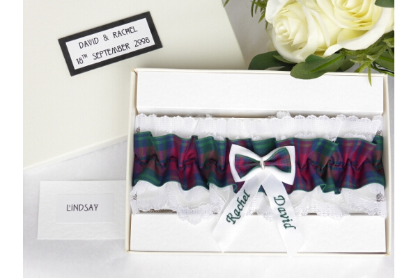 Bridal Wear - Personalised Tartan Wedding Garter - Lindsay