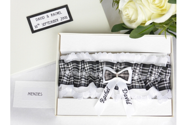 Bridal Wear - Personalised Tartan Wedding Garter - Menzies Tartan