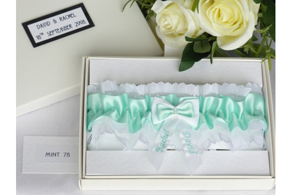 Bridal Accessories - Personalised Mint Green Garter in Gift Box