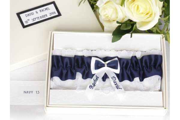 Bridal Accessories - Personalised Navy Blue Satin Wedding Garter in Gift Box