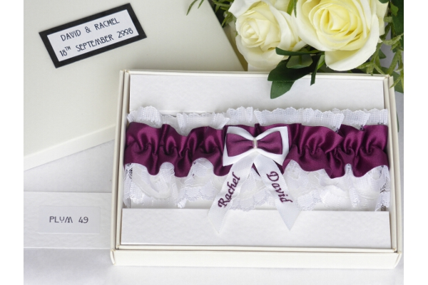 Bridal Accessories - Personalised Plum Satin Wedding Garter in Gift Box