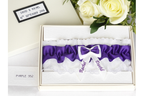 Bridal Accessories - Personalised Purple Garter in Gift Box