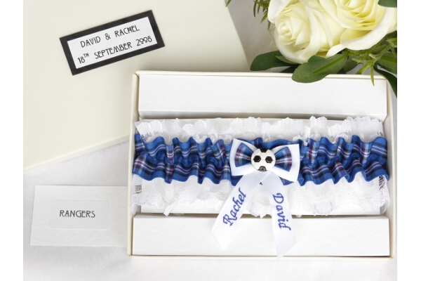 Bridal Wear - Personalised Tartan Wedding Garter - Rangers Tartan