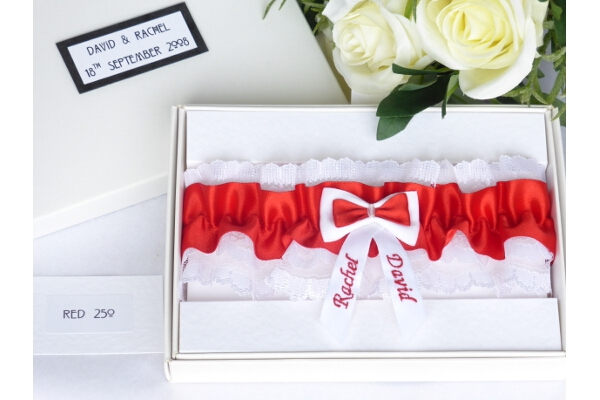 Bridal Accessories - Personalised Red Satin Wedding Garter in Gift Box