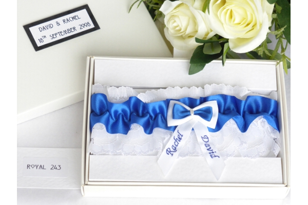 Bridal Accessories - Personalised Royal Blue Garter in Gift Box