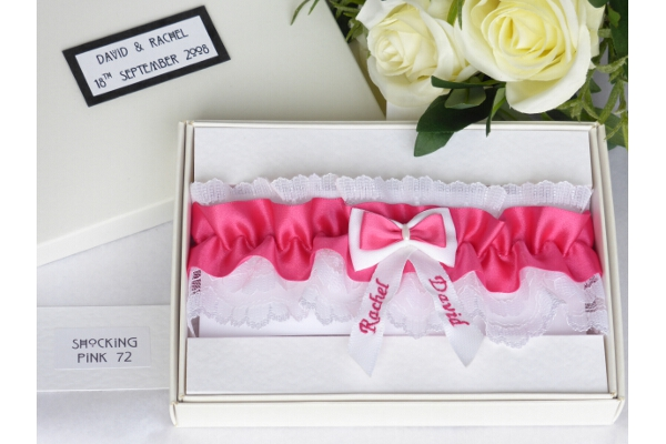 Bridal Accessories - Personalised Shocking Pink Garter in Gift Box