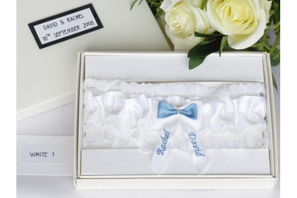 Bridal Wear - Personalised Satin Wedding Garter - White