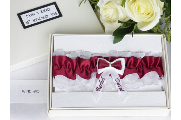 Bridal Accessories - Personalised Wine Satin Wedding Garter in Gift Box